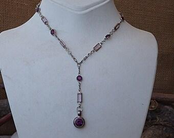 Amethyst Swarovski Necklace, Purple Gemstone Necklace, Silver Y Necklace, Purple Swarovski Necklace, Purple Y Necklace, Bridesmaid Jewelry