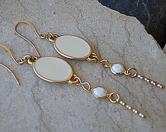White Enamel Drop Earrings, Gold White Swarovski Earrings, Oval Drop Earrings, White Long Earrings, Long Gold Earrings, Oval Enamel Earrings