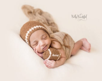 Knit Baby Football Pattern ~ Knit Football Hat Pattern ~ Baby Boy Photo Prop Knitting Pattern ~ Newborn Boy Photo Prop Knitting Pattern