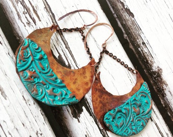 Turquoise earrings, Copper earrings, rustic earrings, metal earrings, moon earrings, Handmade earrings, dangle earrings, bohemian earrings