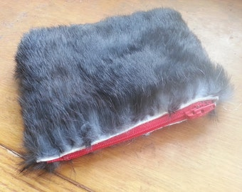 Black Rabbit Fur Wallet or Clutch Purse With Red Zipper