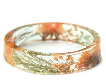 Flower Bracelet - Jewelry with Real Flowers- Dried Flowers- Orange Bracelet -  Ferns and Flowers- peach Bracelet- Resin Jewelry