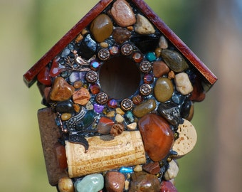 Fancy birdhouse Red Hat birdhouse Fairy garden birdhouse Mosaic Whimsical wine cork, unique gift yard art red bird natural stone bird house