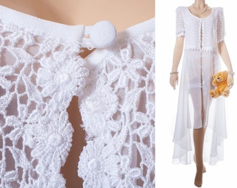 As new adorable 1980's full length incredibly sheer flimsy bridal white nylon and beautiful floral lace overlay detail negligee robe - 3700