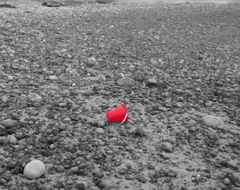 Time To Go Red Beach Pale Left Behind on Ocean Shore Black and White Photograph Fine Art  Wall Hanging Beach Scene Summer Scene Family Trip