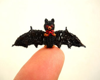 Micro Mini Bat - Miniature Amigurumi Bat Stuffed Animal - Made To Order
