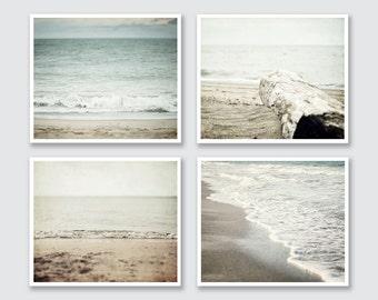 Beach Decor Print or Canvas Wrap Set of 4, Soft Grey Beach Decor, Pastel Beach Set, Beige Blue Tan Grey, Ocean Art, Beach Art Prints Set.