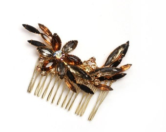 Hair Comb Brown & Gold Rhinestone HairComb Fall Wedding Colors Amber Honey Golden Handcrafted Headpiece Head Piece Hair Bling - 1000200