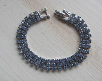 VINTAGE Rhinestone Bracelet Sky Blue