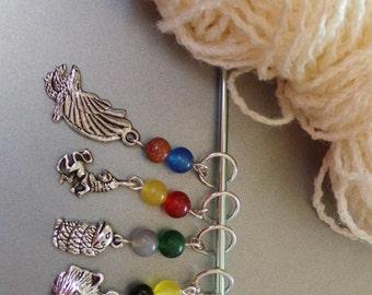 HOGGY WARTY HOGWARTS knitting stitch markers set of 4 - Harry Potter Inspired