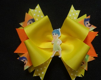 Inside out inspired bow, 5 inch joy hairbow