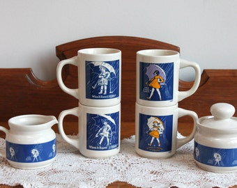 7-Piece MORTON SALT Advertising Coffee Mugs Cream & Covered Sugar  ~ New In Box from 1984 ~ 150th Anniversary Set ~ NOS ~ Insurance w/Ship