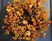 RESERVED FOR LINDA Fall Wreath -Primitive Wreath - Wreath For The Door - Pip Berries - Pumpkin Wreath - Wild Pumpkn Patch