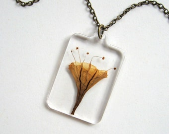 Autumn Trumpet Flower - Real Flower Garden Necklace -  botanical jewelry, pressed flower, Fall brown, natural, Nature inspired, modern, ooak