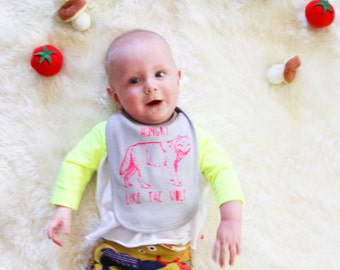 Hungry Like the Wolf Cotton Baby Bib - Hand Screen Printed - Pink