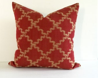 Red Pillow Cover Decorative Pillow Ric Rac Upholstery Fabric Throw Pillow Cover Holiday Decor Cushion Cover Euro Sham 26x26 24x24 22x22