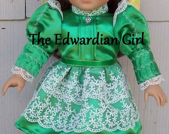 Two of a kind green satin, embroidery and lace Titanic dress. Fits 18 inch play dolls such as American Girl, Springfield. Made in USA