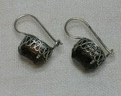 Soviet Silver Plated Earrings, Topaz Glass, c1970s or 80s