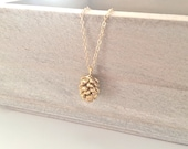 Gold Necklace, Pine Cone Necklace, Dainty Gold Necklace Best Friend Gifts Birthday Gift,  BUZZFEED, Rustic Wedding Bridesmaid Necklace, Gift