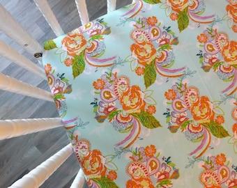 Crib Sheet- Baby Sheet- READY TO SHIP-  Floral Crib Sheet- Paisley Fitted Crib Sheet- Girl Crib Sheet
