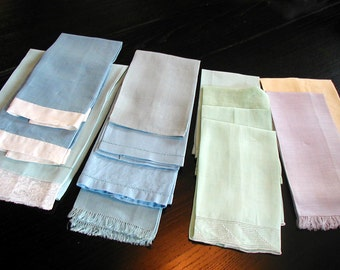 13 Vintage Fingertip Towels Pastel Blue Green Purple Yellow Nice for Dollhouse Linens