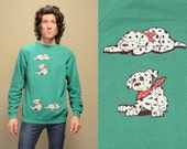 RESERVED vintage 90s dalmatian sweatshirt dog lover vintage 1990 puppy jumper large L unisex men women vintage teal green