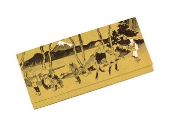 vintage Japanese billfold rice paper wallet wagami made in Japan bill fold olive green paper wallet money holder
