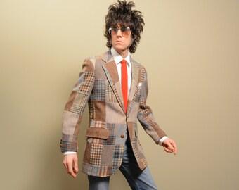 mens vintage sport coat patchwork tweed sport jacket plaid blue brown gray Belmont Golf Shop prep trad 38-40 39 39R