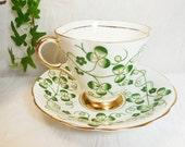 Shamrock Cup & Saucer Windsor Bone China Crown Windsor Pottery