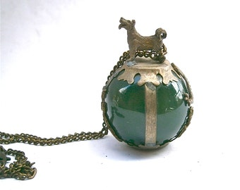 Vintage Jade Glass Stone Orb Stone Dragon Dog Pendant Necklace Encased Caged Symbolic Forest Green Ball Globe Artsy Decorative Artsy Jewelry