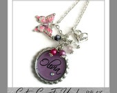 PERSONALIZED  Big Or Little Sis Charm With Name on Your Choice Of Background Color Bottle Cap Necklace With Matching Beads, Butterfly Charm