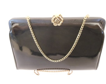 Vintage After Five Purse Black with  Brass Rose Clasp  with Chain Evening Bag