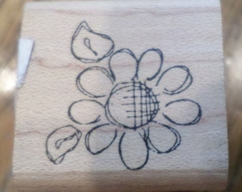 Simple Pleasures Flower Bloom Pedals Leaves Sketched  Wooden Rubber Stamp