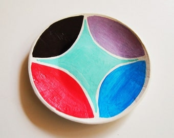 color block dish, ring dish, catch all dish, clay dish, home decor, quilt block pattern, painted dish, geometric print