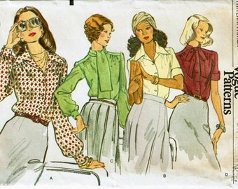 Set of Blouses 1970s with tie and sleeve options Very Easy Vogue 8749 Size 16 Bust 38 70s Sewing Pattern