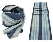 Japanese Artisan Hand Loomed Ikat. Vintage Cotton Scarf. Striped Indigo Folk Textile Supply Fabric (Ref: 85A)