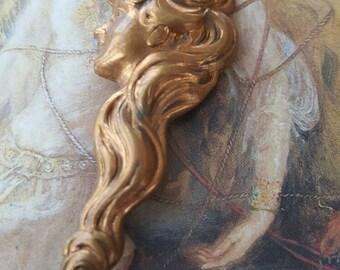 Beautiful Woman Vintage Old Brass Art Deco Pin Brooch