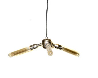 Simply Modern Bare Bulb Triple Light Chrome Edison Pendant / Chandelier