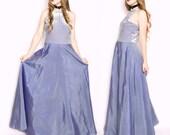 90s Vintage Lavender Silver Stretch Velvet Iridescent Taffeta Skirt Prom Maxi Dress Large