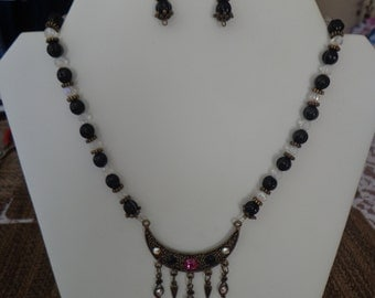 Czech Glass and Swarovski Crystal Handmade Bib Necklace and Earring Set, Black and Clear Beads w/ Antique Brass Tone Metal