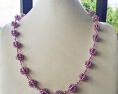 MOVING SALE Half Off Vintage Acrylic Purple Pearl  Beaded and Crocheted  Necklace