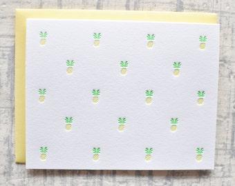 pineapple letterpress card set of 5