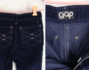 SALE was 42.00. Gap Cords. vintage 80s Old School Logo GAP. High Waisted Blue Corduroy Pants. Girl's Size 14/16 or Junior's Size XS 0 1 2