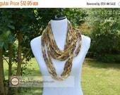 ON SALE Infinity Scarf {hand crocheted} Sashay Metallic Golden