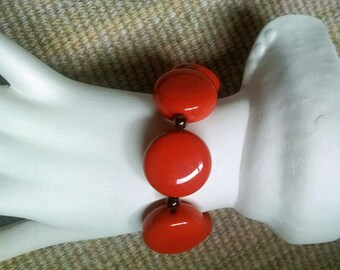 Bracelet Dark Coral Retro Vintage Kitsch Chunky Stretch Gift for Her