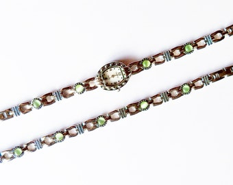 Watch and Bracelet Set Vermeil Light Green Moonstones By Gramercy Vintage Jewelry Jewellery Accessory Gift Guide Women Art Deco Preppy