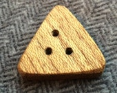 "Triangular Three Hole Philippine Mahogany Button each side is 1 1/2"" or 38 mm, reclaimed wood"