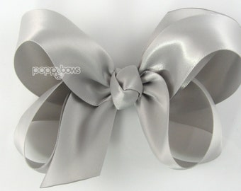 Girls Hair Bow - satin hair bow - grey satin hair bow - silver hair bow - gray hair bow - girls hairbow - big hair bow 4 inch boutique bows