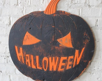 Mean Halloween Pumpkin Wooden Decor Party Pumpkin Decoration Vintage Style