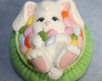Sweet Hand Painted Bunny Bowl Candy Dish with lots of Jelly Beans